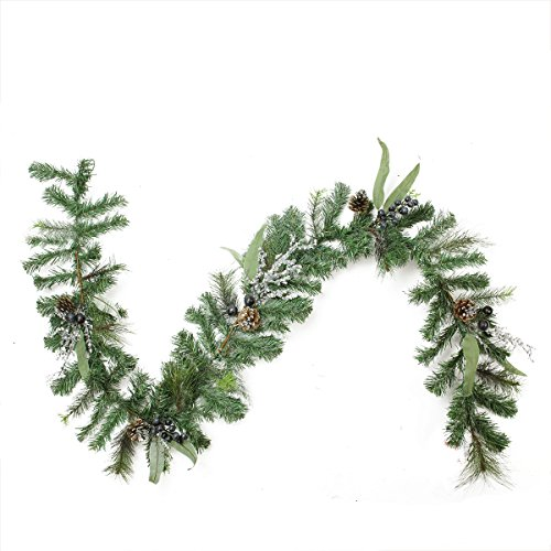 Northlight Unlit Artificial Mixed Pine with Blueberries Pine Cones and Ice Twigs Christmas Garland, 6