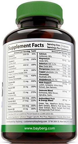 Men039s Multivitamins Antioxidant Energy Supplement with Minerals Vitamins A C D E Vitamin B Complex Calcium Zinc Biotin and Folic Acid Anti Age Immune amp Prostate Support Discount
