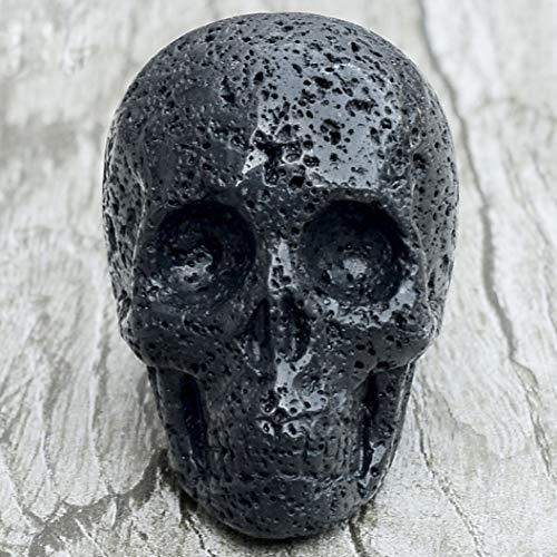 Hand Carved Cow Bone - YOTATO 2 inch Black Lava Skull Statue Natural Volcanic Stone Skull Hand Carved Crystal Quartz Bone feng Shui Healing