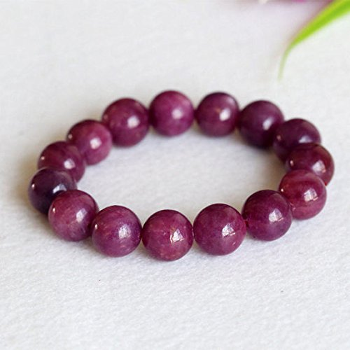 1 Strands Natural Purple Red South Africa Ruby Stretch Bracelet Round Big beads 12mm 04376 by DivineArcade