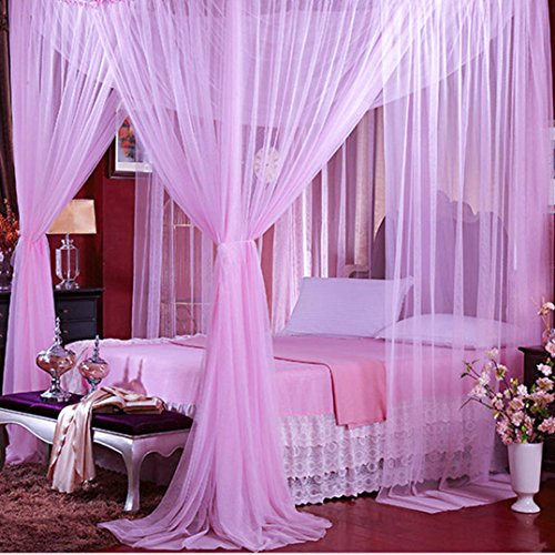 Jeteven Polyester Four Corner Post Bed Canopy Mosquito Net Netting Bedding for Full/Queen/King Bed, 74.8x82.7x94.5 Inches, Purple ()