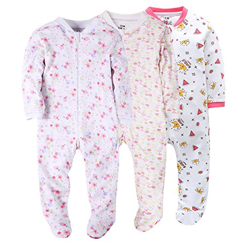 Marquebaby Flower&Diamond Baby Girls' Footed Pajama - 100% Cotton Zip Front Sleep and Play Sleeper 24M