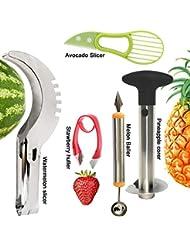 5 Pcs Fruit Slicer Set, Stainless Steel Pineapple Corer, Watermelon Slicer, Melon Baller Scoop, Strawberry Huller, Avocado Gadget, Kitchen Fruit Tools Set by iMustech