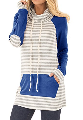 - Uncinba Womens Long Sleeve Stripe Sweatshirts Cowl Neck Casual Slim Tunic Tops with Pockets