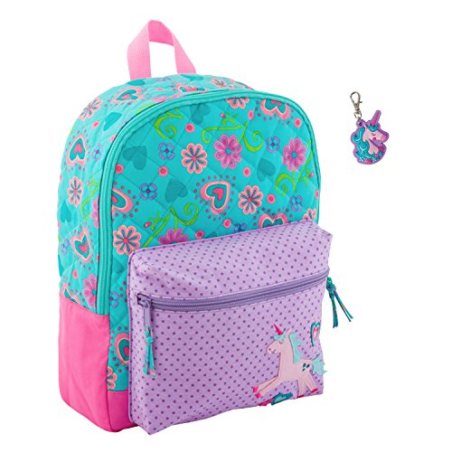 (Stephen Joseph Quilted Unicorn Backpack Book Bag with Zipper Pull)
