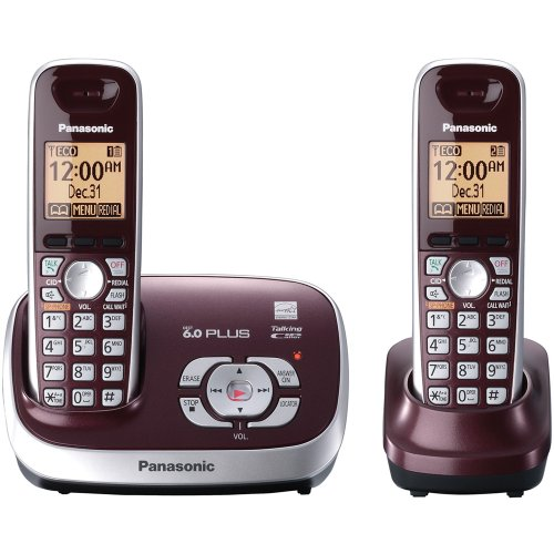 - Panasonic KX-TG6572R DECT 6.0 Cordless Phone with Answering System, Wine Red, 2 Handsets