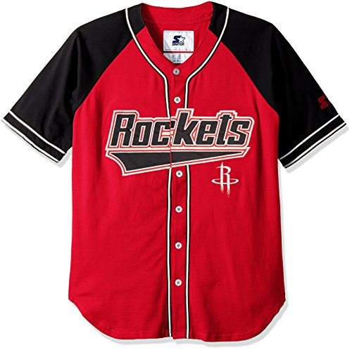 STARTER NBA Houston Rockets Men's The Player Baseball Jersey, XX-Large, Red
