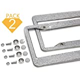 Bling License Plate Frame - 2 Pack, 14 Rows Handmade Waterproof Crystal Rhinestone,2 Holes Stainless Steel Plate Frame + Crystal Screw Caps for Both Front and Back License