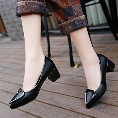 Giy Femmes Pompes Classiques Mocassins Bout Pointu Confort Slip-on Boucle Bloc Talon Robe Loafer Oxford Chaussure Noir