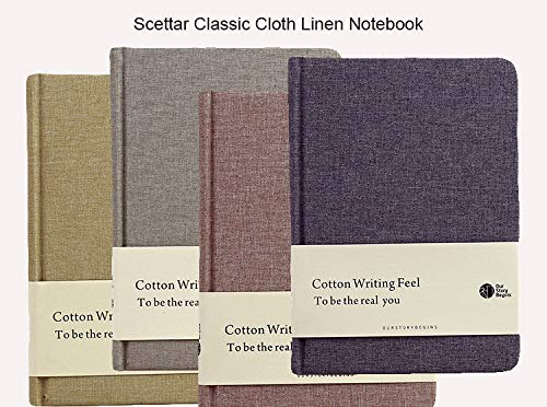Scettar Classic Cloth Linen Notebook 7 X 5.1 inch A5 Journa Blank Page Hardcover Diary Notepad 96 Sheets / 192 Pages Paper - 100gsm Travel/Office / School by Scettar