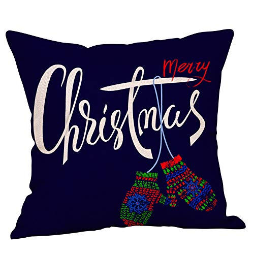 Price comparison product image Seaintheson Red Christmas Throw Pillow Covers, Cute Glitter Cotton Linen Throw Pillow Cases 18x18 Inch Cushion Cover for Home Couch Car Decorative