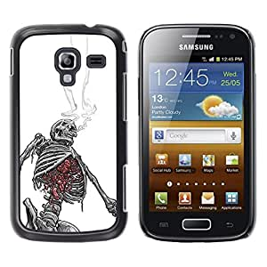 Shell-Star Arte & diseño plástico duro Fundas Cover Cubre Hard Case Cover para Samsung Galaxy Ace 2 I8160 / Ace2 II XS7560M ( Smoking Skeleton Black White Skull )