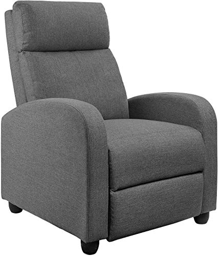 Fabric Recliner Chair Adjustable Single Recliner Sofa Home Theater Seating with Thick Seat Cushion Modern Living Room Chair (Gray)