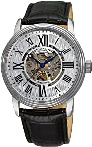 Stuhrling Original Men's 1077.33152 Delphi Venezia Automatic Skeleton Black Leather Watch