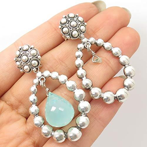 - Stephen Dweck 925 Sterling Silver Real Blue Quartz Gemstone Large Drop Earrings