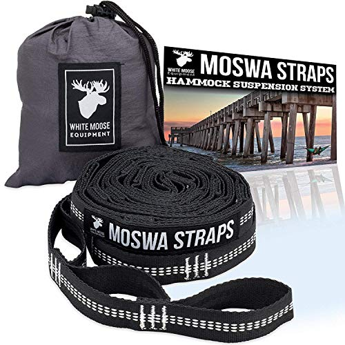 Moswa Hammock Straps - 20 Feet Combined - 28 Loops, Lightweight No Stretch Polyester - 1500 LBS Strength - Extra Strong - Safest Suspension System - Fast & Easy Setup - ENO, Python, NHO Compatible