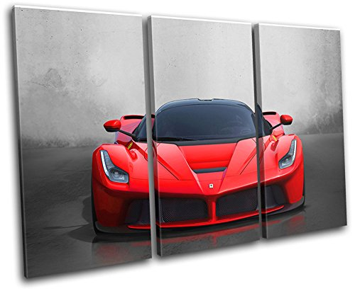 Bold Bloc Design - La Ferrari Exotic Supercar Cars 150x100cm TREBLE Canvas Art Print Box Framed Picture Wall Hanging - Hand Made In The UK - Framed And Ready To Hang - Car Canvas Art