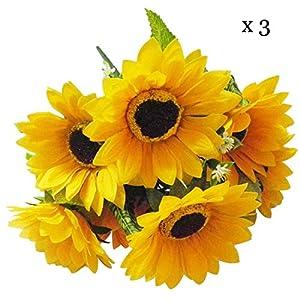Silk Flower Arrangements Calcifer 3 Sets(7 Stems/Set) 10.63'' Sunflowers Artificial Flowers Bouquet for Home Decoration/Wedding Decor