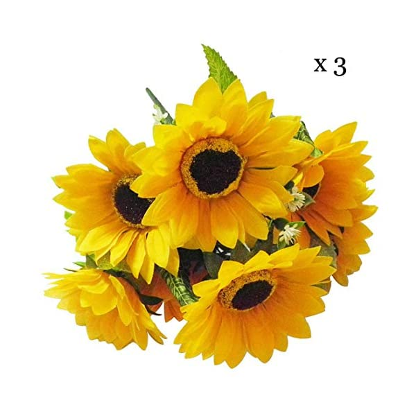 "Calcifer 3 Sets(7 Stems/Set) 10.63"" Sunflowers Artificial Flowers Bouquet for Home Decoration/Wedding Decor"