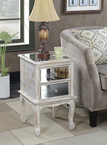 Convenience Concepts Gold Coast Collection Queen Anne Mirrored End Table, Weathered White by Convenience Concepts