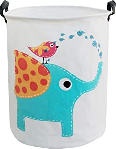 BOOHIT Cotton Fabric Storage Bin,Collapsible Laundry Basket-Waterproof Large Storage Baskets,Toy Organizer,Home Decor(Elephant)