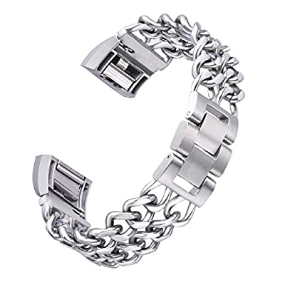 bayite Chain Links Bands for Fitbit Charge 2 Stainless Steel Replacement Metal Bracelet Large Small Silver Rose Gold