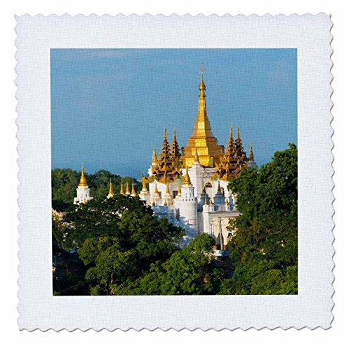 3dRose Danita Delimont - Travel - Pagoda on Sagaing Hill, Mandalay, Myanmar - 12x12 inch quilt square (qs_276707_4) ()