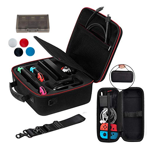 Hard Carrying Case Compatible with Nintendo Switch and Portable Travel Case Shell Pouch - Game Card Organizer - 4 Thumb Grips Caps