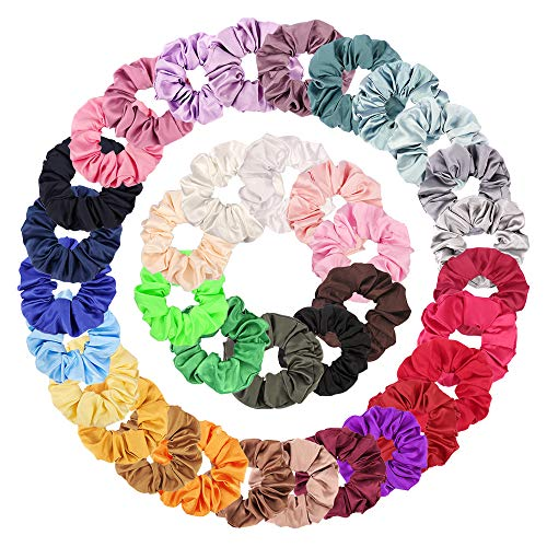Scrunchies for Hair, 36 Colors Satin Scrunchies for Hair, Hair Scrunchies for Hair Satin, Cute Scrunchies,Satin Hair Scrunchies for Women, Hair Ties, Ponytail Holder, Hair Elastic