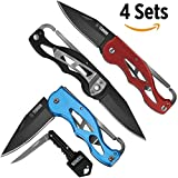 "TEBRION 3 Packs Folding Pocket Knife 3.5"" Black Stainless Steel Blade Coated Textured Aluminum Design with Pocket Clip and Carabiner Clip. Bonus 1 Key Flip Knife. Black,Blue, and Red Value Set"