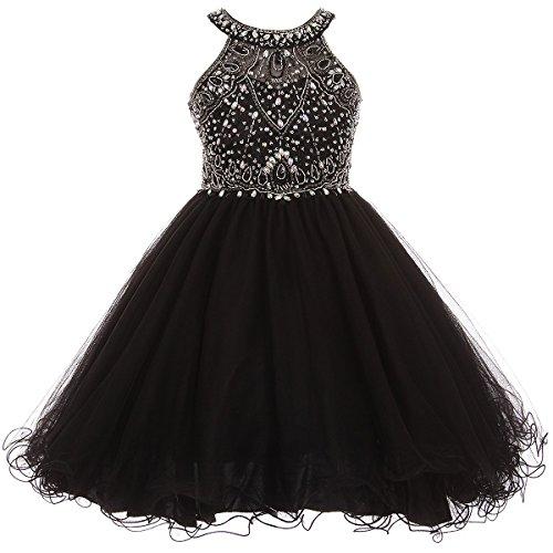 Bodice Dress Halter (Big Girls Stunning Rhinestones Halter Neck Wired Tulle Corset Back Flower Girl Dress Black - Size 10)