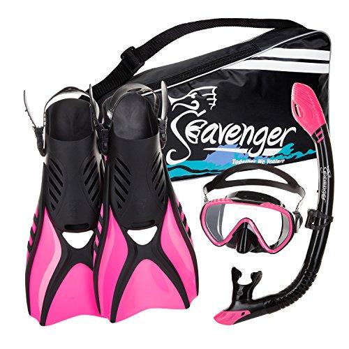 Seavenger Diving Snorkel Set - (Black Silicon/Pink) - M