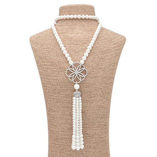 ART KIM Princess Sliver Crystal Pendant Single Strand Tassels Pearl Necklaces (Flower)