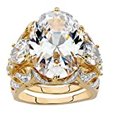14K Yellow Gold-plated Oval Cut Cubic Zirconia 3-Piece Bridal Ring Set Size 6
