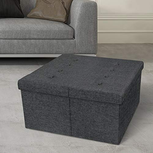 Otto & Ben Storage Coffee Table with Smart Lift Top Tufted Folding Tweed Linen Trunk Toomnas Bench Foot Rest, 30x30x15, Dark Grey
