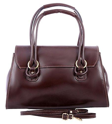 Femme 100 Foncé made Italy Marron cuir à 37x24x17cm CTM classique main sac véritable in nSAxaA