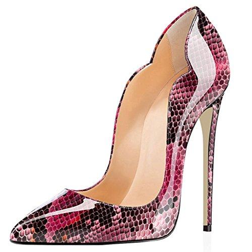 ELASHE Chaussures Grande Python 12cm Aiguille Talon Femmes Escarpins Laçage Rose 1 Stiletto Taille CxqwnrU1C