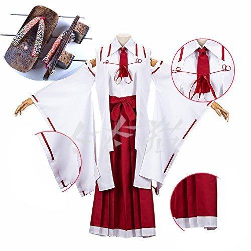 コスプレ衣装☆武装少女マキャヴェリズム☆因幡月夜巫女服 下駄 付