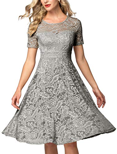 AONOUR Women's Vintage Floral Lace Elegant Cocktail Formal Swing Dress with Short Sleeve Grey M