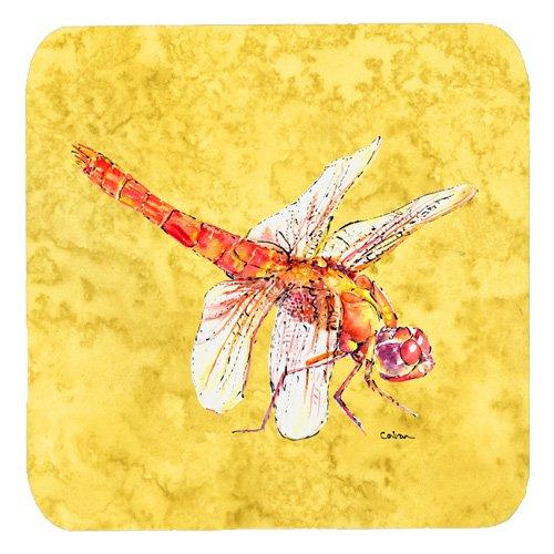 Set of 4 Carolines Treasures 8866FC Dragonfly on Yellow Foam Coasters Multicolor 3.5 H x 3.5 W