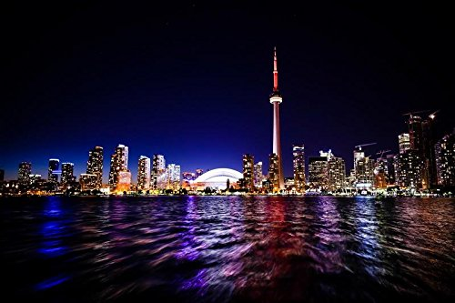 God & Art Canvas oil Painting Frameless Fine Art Giclee Artwork For Wall Decor Lights Night River Toronto Canada Skyline High Rises City(16x24 Inch)]()