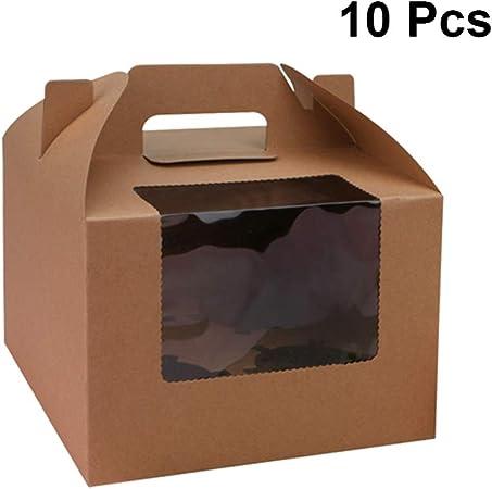 UPKOCH - Caja de papel para cupcakes con asa y ventana para 4 pasteles de postre, 10 unidades (color marrón) Kraft: Amazon.es: Hogar