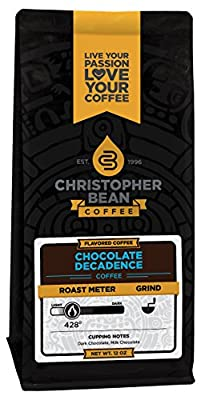 Christopher Bean Coffee Flavored Whole Bean Coffee, Chocolate Decadence, 12 Ounce