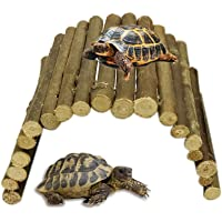 AOLVO Reptile Hide, Bendable Wooden Bridge Suspension Ladder Fence Toy, Reptile Amphibian Cave Hideout Aquarium Terrarium Habitat Hiding Spot for Turtle, Lizard, Snake, Syrian Hamster, Guinea Pig - S
