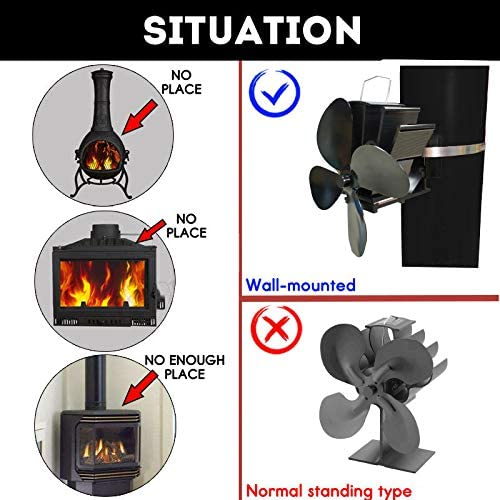 SISIEU 4 Blades Flue Pipe Stove Fan Heater Powered Fixed on The Chimney Pipe of Wood//Log Burner//Fireplace with Free Thermometer Black