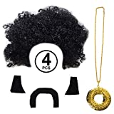 Tigerdoe 70's Disco Wig - 4 Pc Set - Rocker Wig - Mustache - Sideburns and Medallion Necklace - Halloween Afro Wig