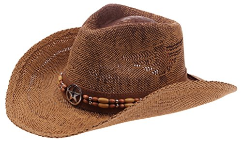 Enimay Western Outback Cowboy Hat Men's Women's Style Straw Felt Canvas Star Brown One Size -