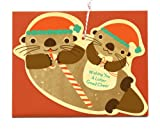 Santa Otters Wood Holiday Card by Night Owl Paper Goods