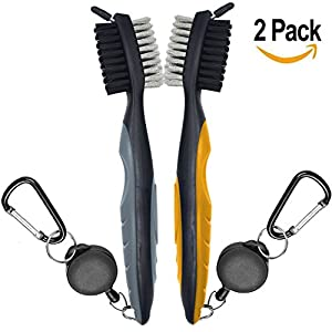 2 Pack Golf Club Brush and Groove Cleaner Brush For Golf Shoes/Golf Club/Golf/Golf Groove, 2 Ft Retractable Zip-line Aluminum Carabiner