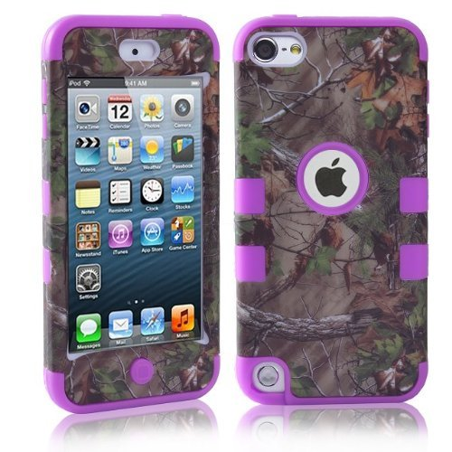Lantier For iPod Touch 5th Case,Plastic 3 Layer TUFF Hard Cover Camo Triple Hybrid Silicone Quakeproof Drop Resistance Protective Shell Case for iPod Touch 5 5th Generation with Screen Protector and Stylus Pen Brown Branch/Purple (Purple Camo Cases For Ipod 5)